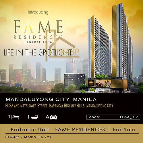 1 Bedroom Unit for sale - SM Fame Residences - EDSA Mandaluyong City