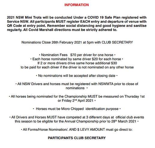 2021 NSW Mini Trots Championships Inform