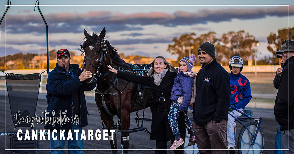 Parkes Harness Racing Club Season Finale Feature Race Winner - Cankickatarget with connections Malcolm Hutchings, Sally Morrison, Brett Hutchings, and Jason Turnbull (driver)