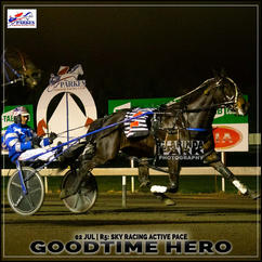 GOODTIME HERO, driven by Mat Rue, won at the Parkes Trots