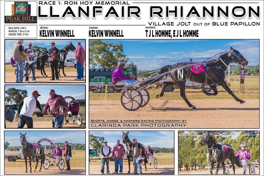 Race 1: RON HOY MEMORIAL  Horse: LLANFAIR RHIANNON Driver: Kelvin Winnell  Trainer: Kelvin Winnell Owners: T J L Homme, E J L Homme