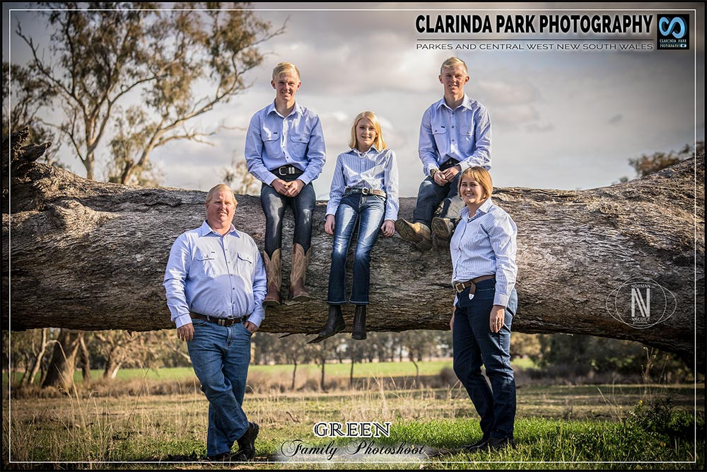 The Green Family Photoshoot in Peak Hill, NSW. Heather Green, Shane Green, Scott Green, Jake Green, and Bri Green