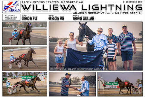 PARKES HARNESS - Race 4 - MEDLYNS CASTROL GIG SERIES FINAL - WILLIEWA LIGHTNING wins at Parkes Trots