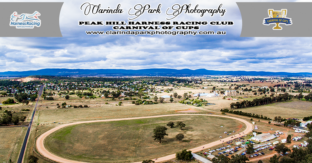 Peak Hill Harness Racing Club Carnival Of Cups Meeting 2017. Aerial Photo of Peak Hill Showground. Clarinda Park Photography.
