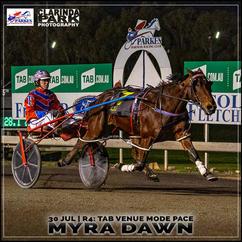 MYRA DAWN, driven by Mitch Turnbull, won at the Parkes Trots