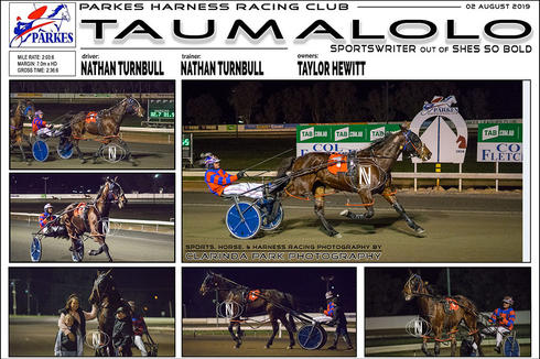 Race 7 - COL FLETCHER FORD AND KIA THREE YEAR OLD MAIDEN PACE - TAUMALOLO wins at Parkes Harness Trots