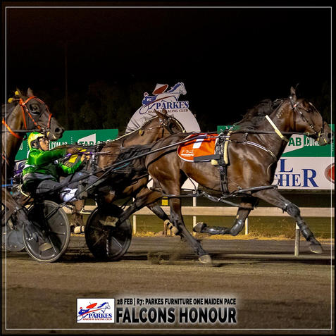 FALCONS HONOUR, driven by Blake Micallef, won at the Parkes Trots