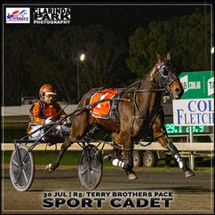 SPORT CADET, driven by Michael Muscat, won at the Parkes Trots