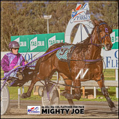 MIGHTY JOE, driven by Mark Hewitt, wins at the Parkes Trots last 05 July 2020.