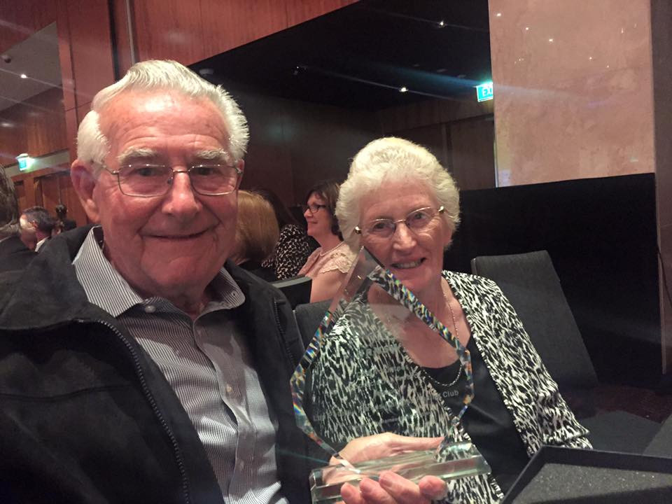 Les Peters awarded Club Volunteer Award 2016 at HRNSW Industry Awards Night. Sitting next to him is his lovely wife, Judy Peters.