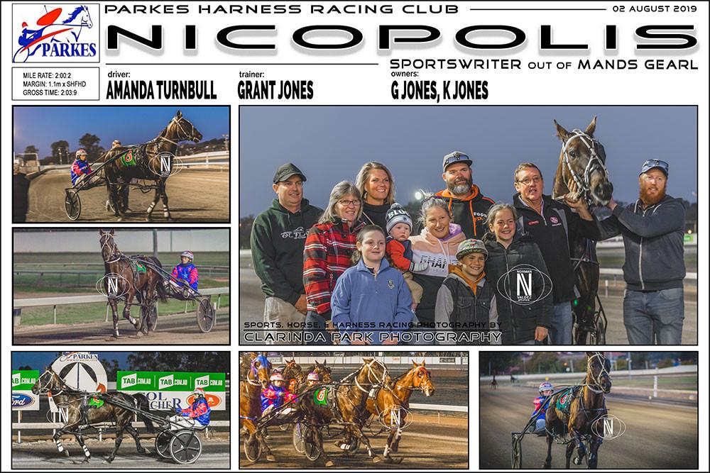 NICOPOLIS Wins at Parkes Harness Racing Club. Trainer: Grant Jones. Driver: Amanda Turnbull. Owner: Grant Jones, K Jones