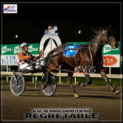 REGRETABLE, driven by Stephen Dowton, won at the Parkes Trots