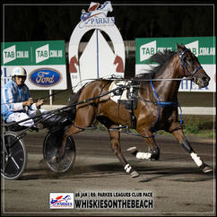 WHISKIESONTHEBEACH, driven by Gregory Rue, wins at Parkes Trots