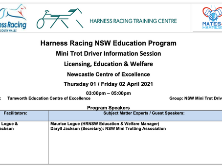 Harness Racing NSW Education ProgramMini Trot Drivers 13 Years & Older Invitation