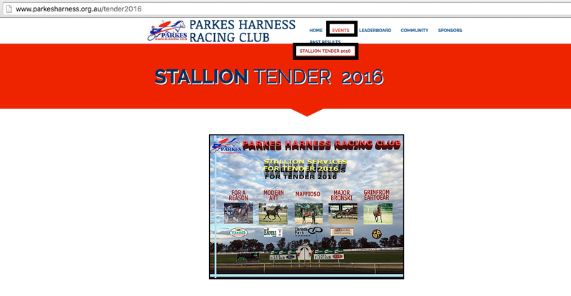Parkes Harness Racing Club Stallion Tender