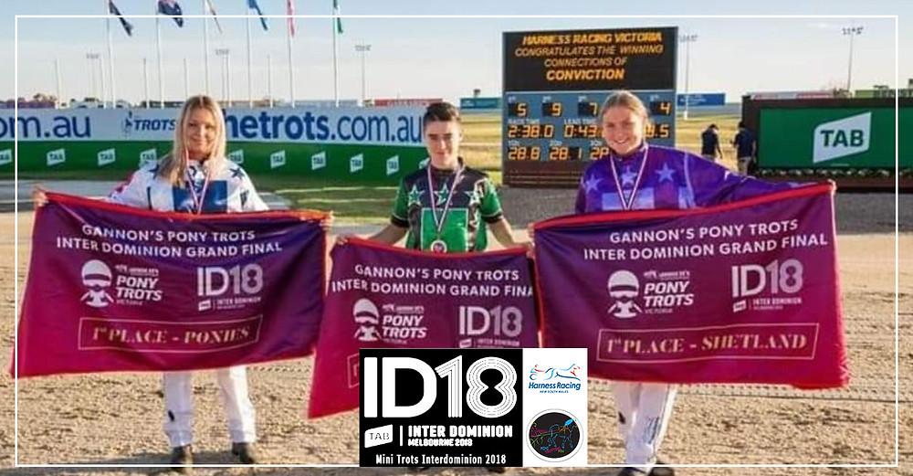 Mini Trots Inter Dominion 2018 (ID18) are Mason Beresford & Pay The Aces (Midget/Miniature Division), Jemma Howard Coney & Secret Mission (Shetland Division), Grace Panella & Velvets Little Star (Pony Division)