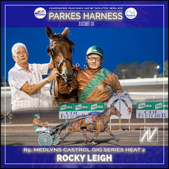 PARKES HARNESS - Race 5 - MEDLYNS/CASTROL GIG SERIES HEAT 2 - ROCKY LEIGH wins at Parkes Trots
