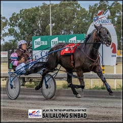 SAILALONG SINBAD, Brett Hutchings, wins at Parkes Trots