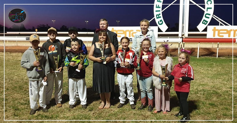 Leeton Mini Trotting Club at Griffith Carnival Of Cups Connor Ward, Ryan Ward, Jed Driscoll, Lachlan Symes(front) Shanae Best, Lily Painting,Shaiila Ogilvie,Rosie Reay and Lilah Trewin