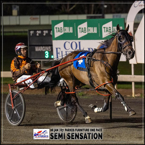 SEMI SENSATION, driven by Doug Hewitt, wins at Parkes Trots