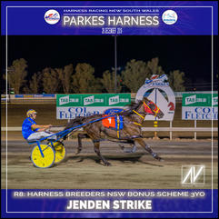 PARKES HARNESS - Race 8 - HARNESS BREEDERS NSW BONUS SCHEME 3YO PACE - JENDEN STRIKE wins at Parkes Trots