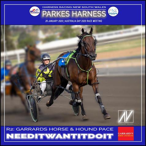 PARKES HARNESS AUSTRALIA DAY - Race 2 - GARRARDS HORSE AND HOUND PACE - NEEDITWANTITDOIT wins at Parkes Trots.