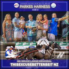 PARKES HARNESS - Race 6 - BRUCE LARGE MEMORIAL - THISEXCUSEBETTERBEIT NZ wins at Parkes Trots