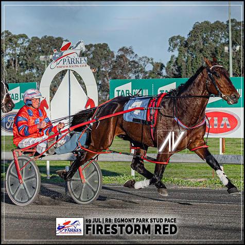 FIRESTORM RED, driven by Steve Turnbull, wins at Parkes Trots last 19 July 2020