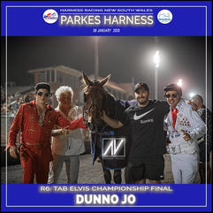 PARKES HARNESS - Race 6 - TAB ELVIS CHAMPIONSHIP FINAL - DUNNO JO wins at Parkes Trots.v