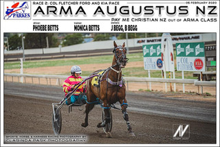 ARMA AUGUSTUS NZ driven by Phoebe Betts and trained by Monica Betts