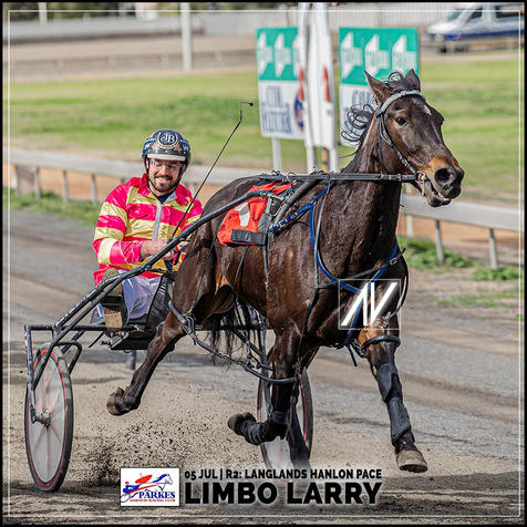 LIMBO LARRY, driven by Jed Betts,  wins at the Parkes Trots last 05 July 2020.