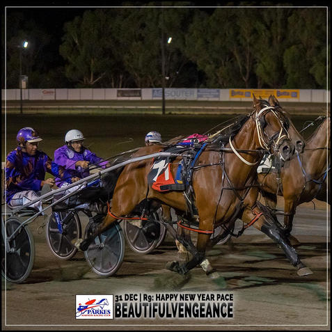 BEAUTIFULVENGEANCE, driven by Anthony Winnell, wins at Parkes Trots