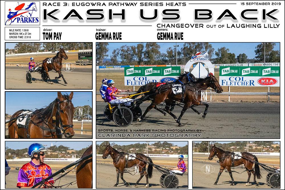 KASH US BACK Wins at Parkes Harness Racing Club. Trainer: Gemma Rue. Driver: Tom Pay. Owner: Gemma Rue