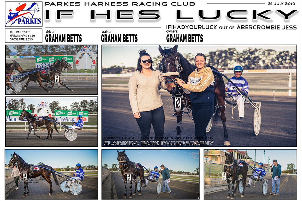 IF HES LUCKY Wins at Parkes Harness Racing Club. Trainer: Graham Betts. Driver: Graham Betts. Owner: Graham Betts