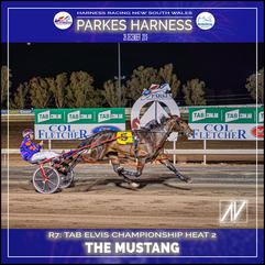 PARKES HARNESS - Race 7 - TAB ELVIS CHAMPIONSHIP HEAT 2 - THE MUSTANG wins at Parkes Trots