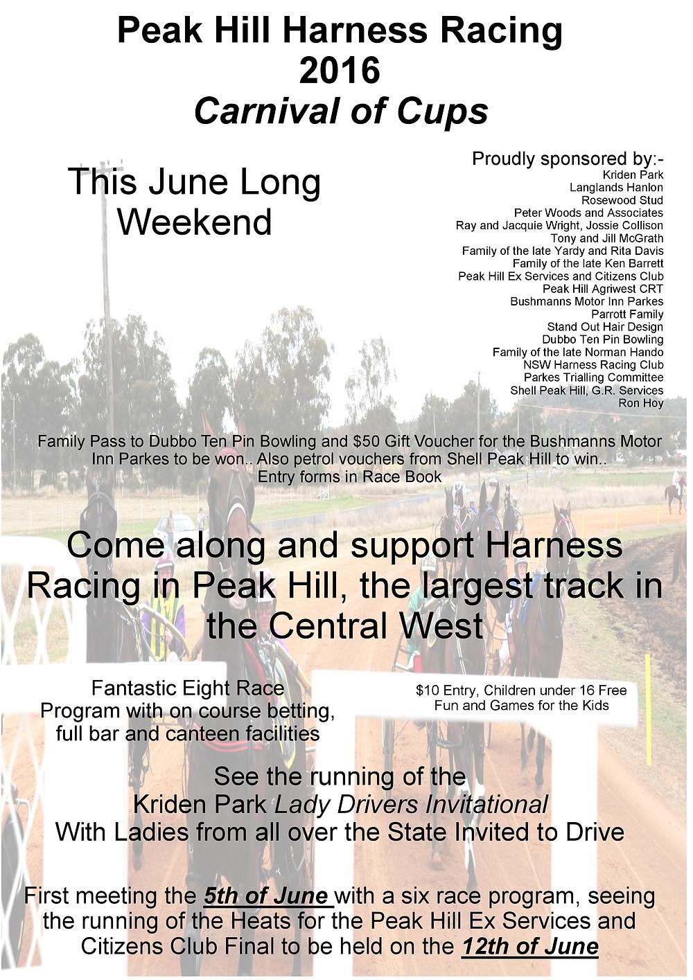 Peak Hill Harness Racing Club Carnival Of Cups 2016