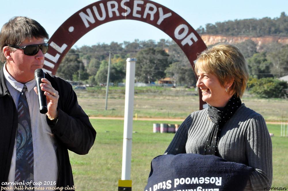 Sue Dean, owner of Homestead Lad, Winner of Race 3 Peak Hill HRC CoC