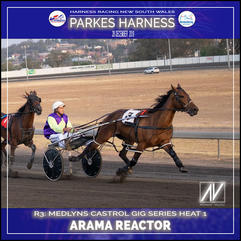 PARKES HARNESS - Race 3 - MEDLYNS/CASTROL GIG SERIES HEAT 1 - ARAMA REACTOR wins at Parkes Trots