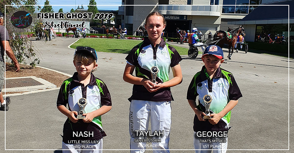 NSW Mini Trots Fishers Ghost 2019 - Shetland Division Winners: 1st George and Thats My Red, 2nd Taylah and Silver Storm, 3rd Nash and Little Miss Lily
