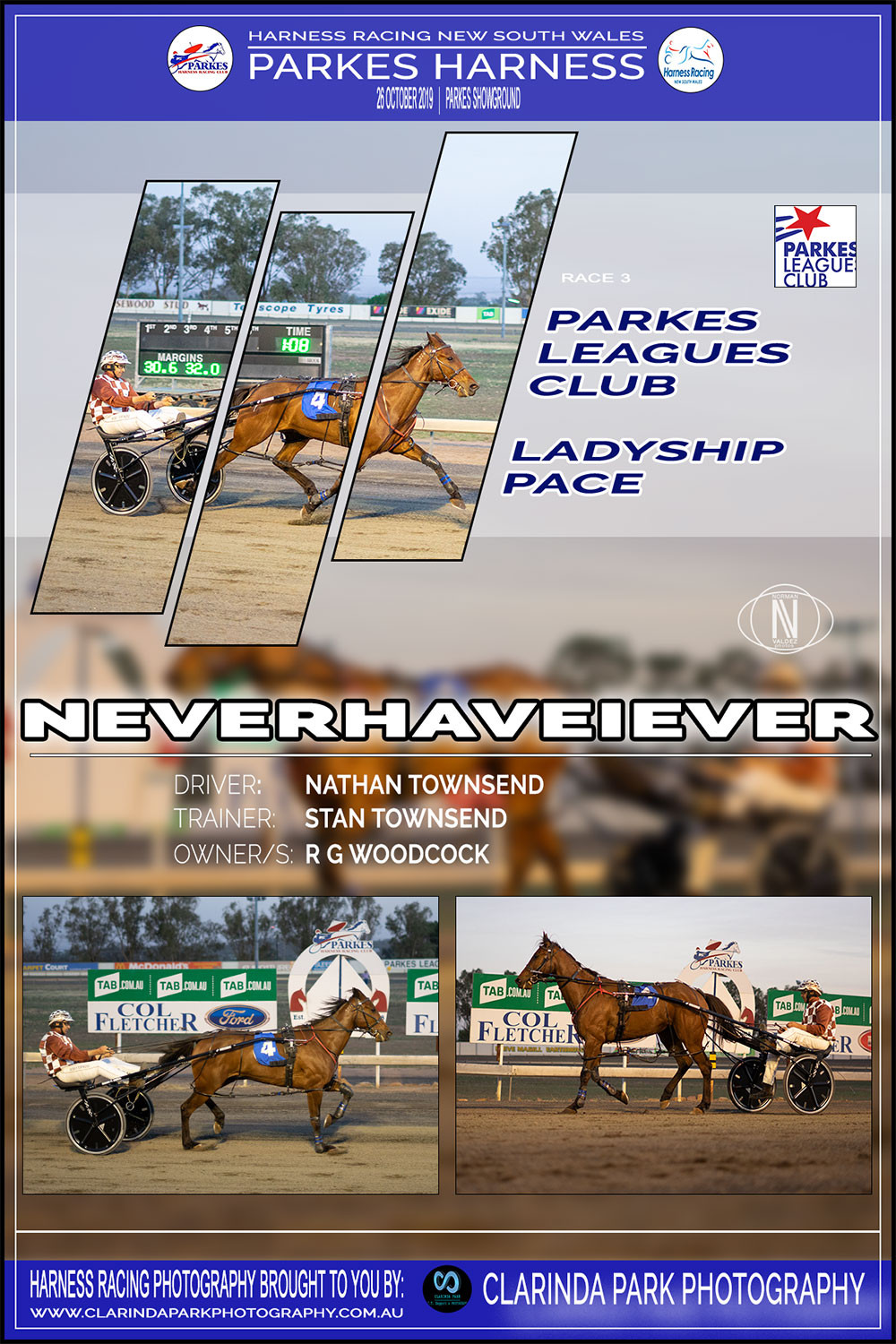 NEVERHAVEIEVER Wins at Parkes Harness Racing Club | Trainer: Stan Townsend | Driver: Nathan Townsend | Owner: Ronald Woodcock