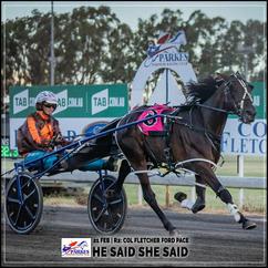 HE SAID SHE SAID wins at Parkes Trots