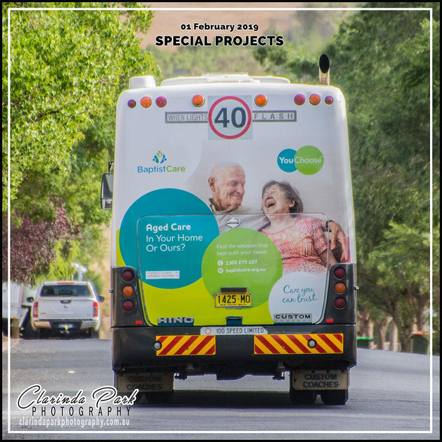 Baptist Care Ad behind the Parkes Shire Buses