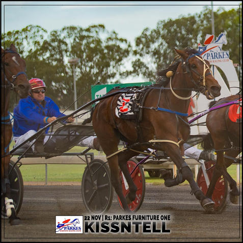 KISSNTELL, driven by Jeremy Lamb, wins at Parkes Harness