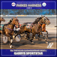 PARKES HARNESS - Race 4 - TAB ELVIS CHAMPIONSHIP HEAT 1 - GABBY SPORTSTAR wins at Parkes Trots