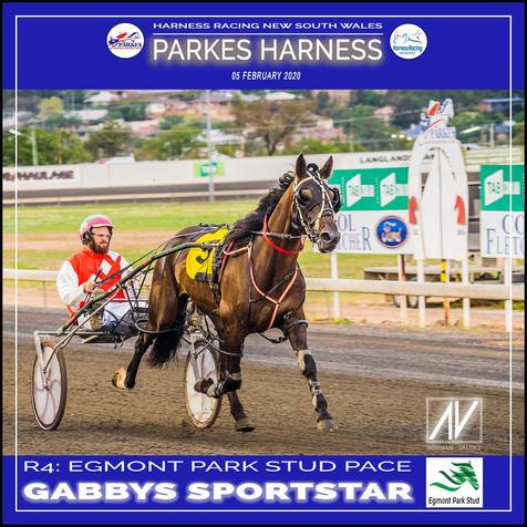 PARKES HARNESS - Race 4 - EGMONT PARK STUD PACE - GABBYS SPORTSTAR wins at Parkes Trots.
