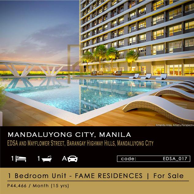 1 Bedroom Unit For Sale at SM Fame Residences in EDSA