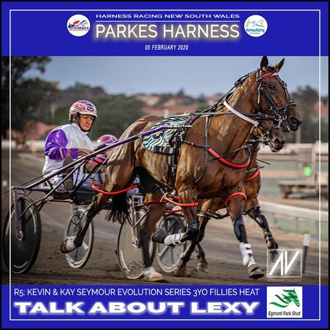 PARKES HARNESS - Race 5 - KEVIN & KAY SEYMOUR EVOLUTION SERIES 3YO FILLIES HEAT - TALK ABOUT LEXY wins at Parkes Trots.
