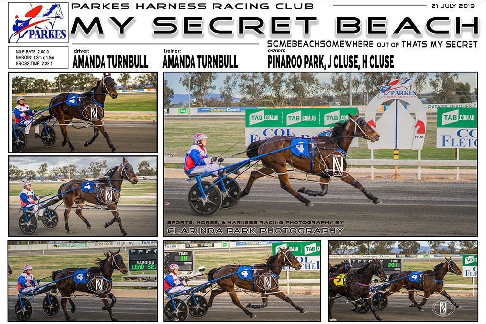 MY SECRET BEACH Wins at Parkes Harness Racing Club. Trainer: Amanda Turnbull. Driver: Amanda Turnbull. Owner: Pinaroo Park, J Cluse, H Cluse