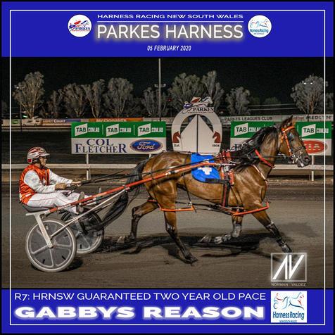 PARKES HARNESS - Race 7 - HRNSW GUARANTEED 2YO PACE - GABBYS REASON wins at Parkes Trots.