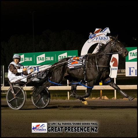 GREAT PRESENCE NZ, driven by John O'Shea, won at the Parkes Trots